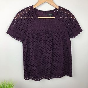 J. Crew Burgundy Eyelet short sleeve Top
